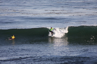 The surfer stands and is turning right by leaning his body so that he can see the wave over his right shoulder.