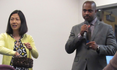 Language Arts Dean Keiko Kimura and San Jose City College President  Byron Breland call off raffle ticket numbers at the Kagoshima University Reception Program in Technology Center on Sept. 14.