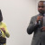 Language Arts Dean Keiko Kimura and San Jose City College President  Byron Breland call off raffle ticket numbers at the Kagoshima University Reception Program in Technology Center on Sept. 14.