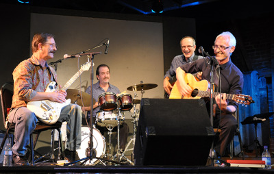 Left to right: Rober Sober, Ken Owens, Alex Baum and Ciaran MacGowan performed at the Tabard Theater on Sept. 22, 2015 in San Jose, Calif.