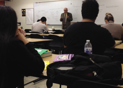 Philosophy professor Gerald Grudzen lectures during his Logic and Critical Thinking class on Oct. 22.