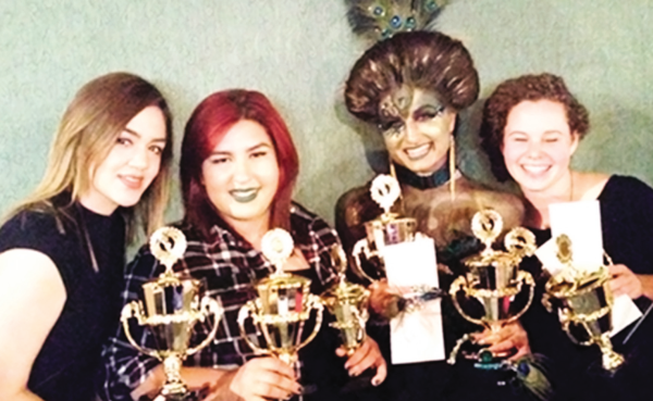 First place team winners in the overall category, left to right, Nereyda Castro, Maria Mendoza, Alyssa Krauter and Autumn Tyrrell in the Santa Cruz Hair Show Student Competition on Oct. 4.