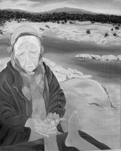 "Rosa Harrison's painting entitled ""Border Healing Woman."""