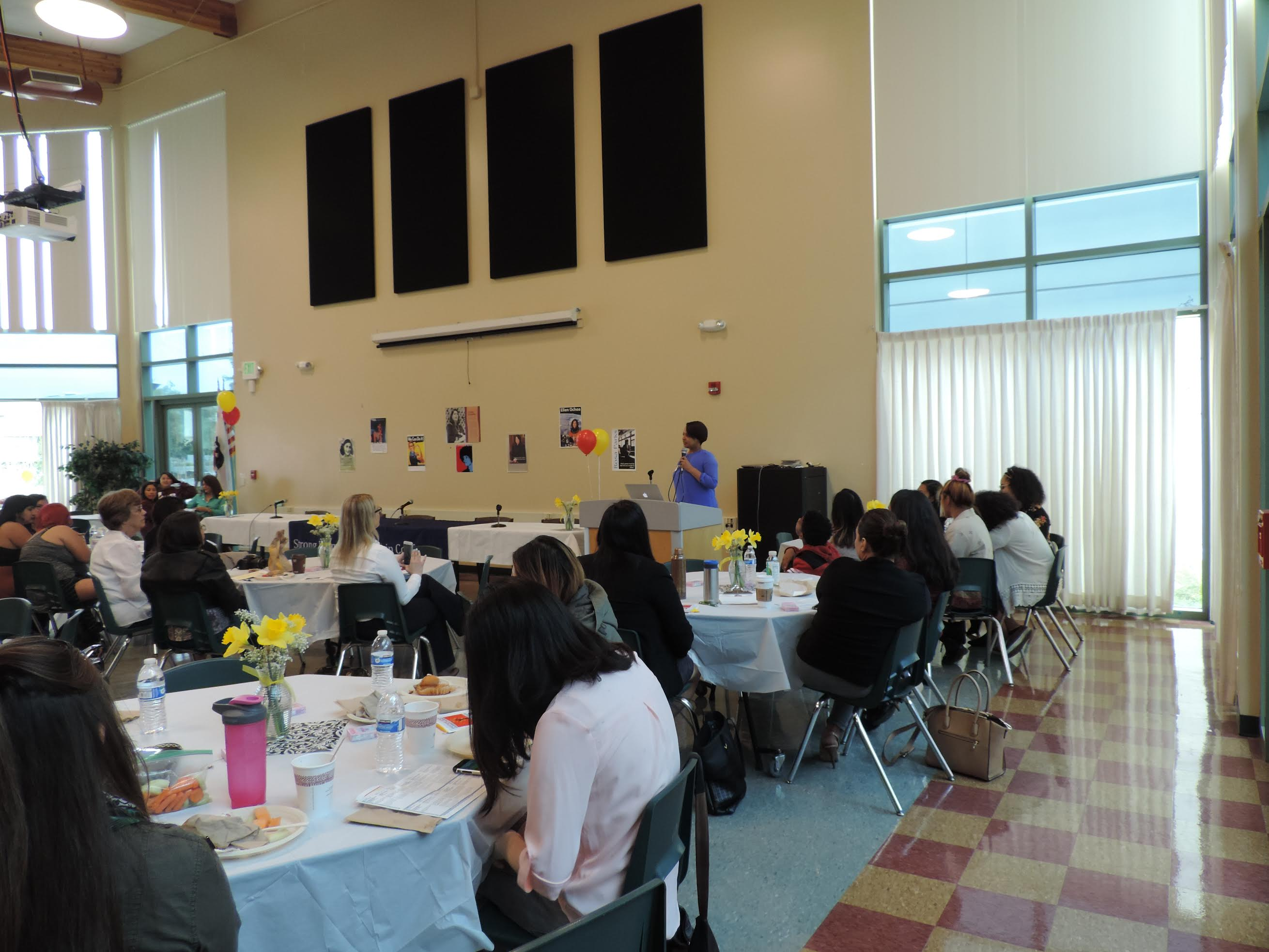Keynote speaker Chandra Brooks addresses audience at Evergreen Community College's Strong Women Leadership Conference, Saturday March 18.