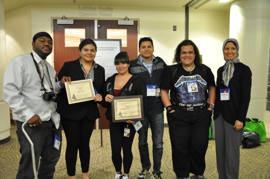 From left, Darrick L. Hurd, Araceli Lopez, Stephanie Smith, Noe Magana and Patrick Jenkins (with advisor Farideh Dada) after the award ceremony at the JACC convention at Sacramento State University on Nov. 7.
