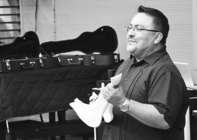 On Oct. 15, ethnic studies professor, Jesus Covarrubias used a donkey jawbone as an instrument, which represented songs of resistance during his lecture at SJCC.