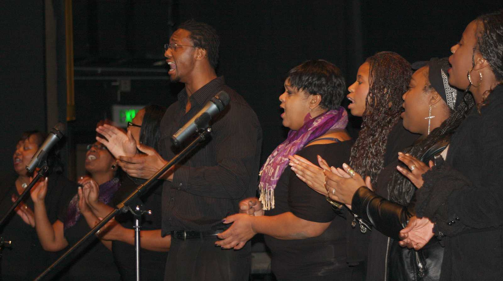 "San Jose New Restoration Mass Choir performs at the ""Lift Every Voice"" Gospel Musical Concert in SJCC theater on Feb. 20."