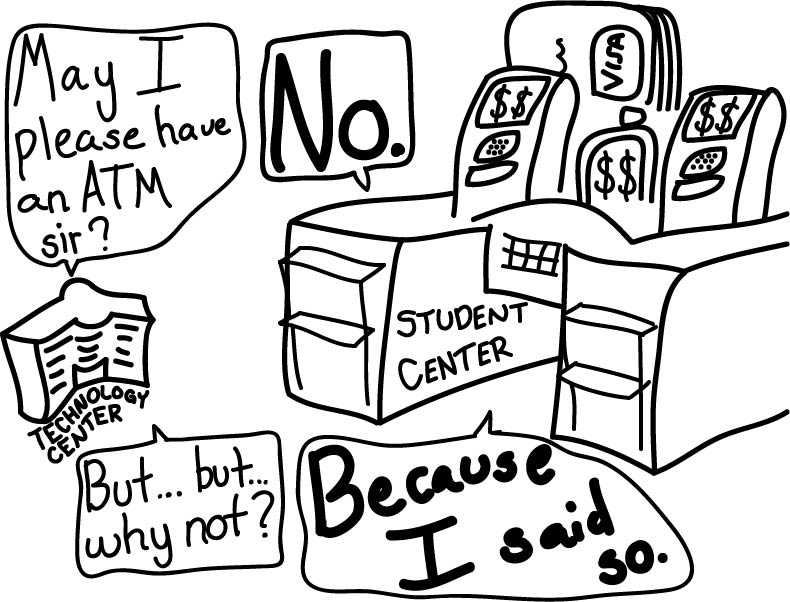 Editorial cartoon: ATM is needed at Technology Center