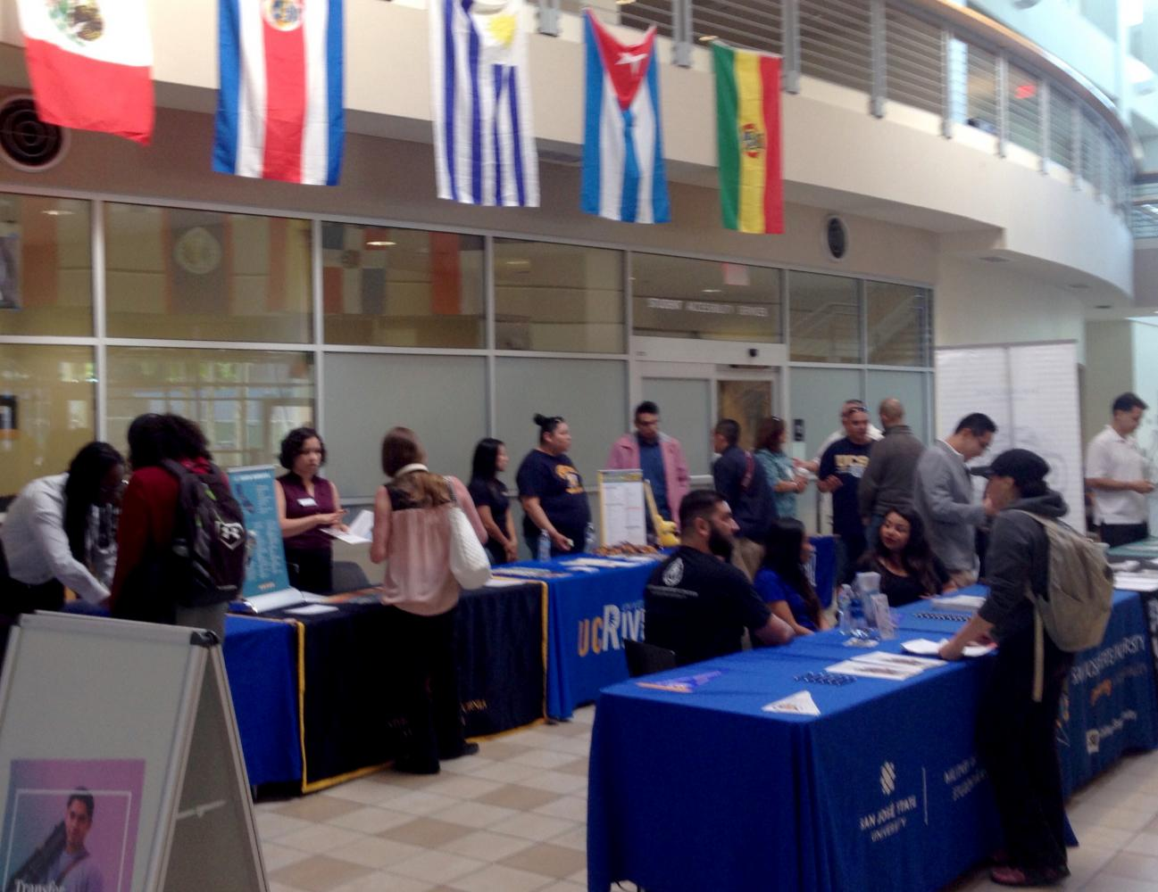 Representatives from universities and colleges lined up to meet students inside the Student Services Center on Oct. 9.