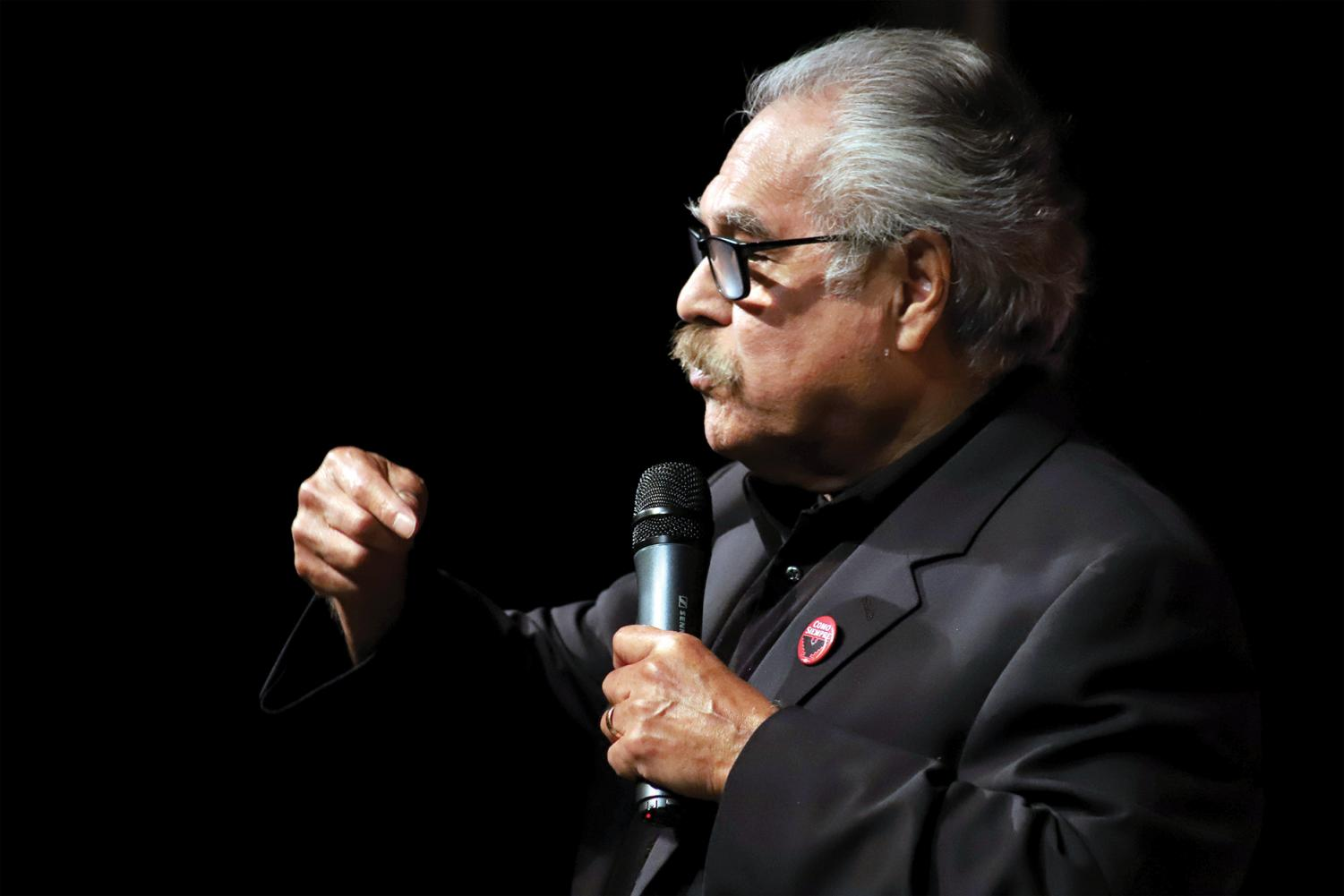 Luis Valdez speaks to a packed crowd in the SJCC Campus Theater on Oct. 21.