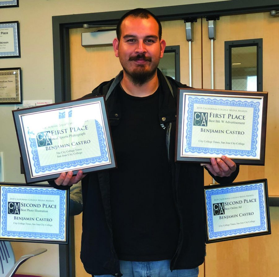 Editor Benjamin Castro has four awards, but only two hands.