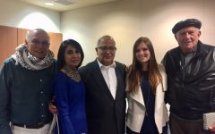 SJCC instructor Sami Ibrahim (center) celebrates Middle Eastern Heritage Month on April 11, 2018, with MEHC speakers (from left) Douglas Bailey, Roohi Vora, Ibrahim, Natasha Ibrahim and Eusataquio Navarro-Cortez.