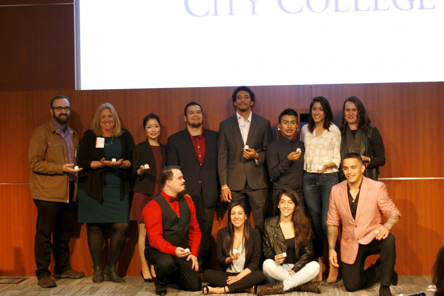Faculty and students pose at the end of the Let Your Life Speak event in downtown San Jose's Adobe headquarters. From left, top to bottom: Chris Lancaster, Leslyn McCallum, Lilia Huang, Angel Coronado, Steven Sciplin, Ivan Perez, Rachel Davis, Shelley Giacalone, Kris Menge, Sabrina Maciel, Galy Jimenez and Thomas Guiterrez on March 23, 2018.