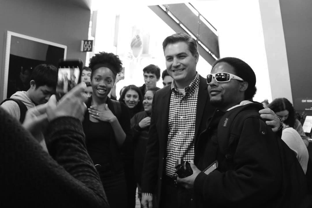 Jim Acosta and J Blue Sanders posing for pictures inside Hammer Theater downtown San Jose, CA