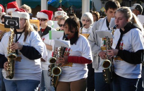 Saxophones fill air with holiday cheer