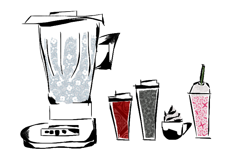 Assorted Starbucks drinks
