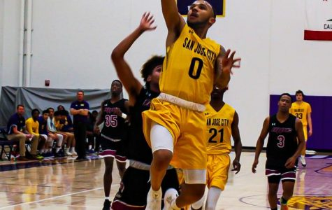 Point Guard DeCaurey Brown attempts to score against Monterey Peninsula College on Jan. 31.