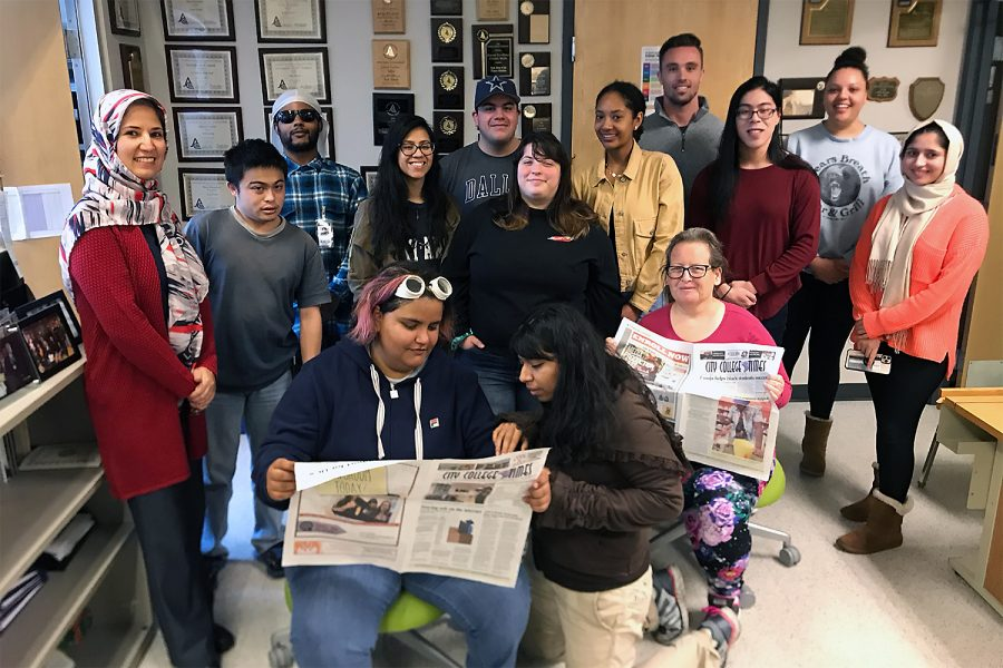 City College Times fall 2019 staff pose for a group shot in the newsroom.