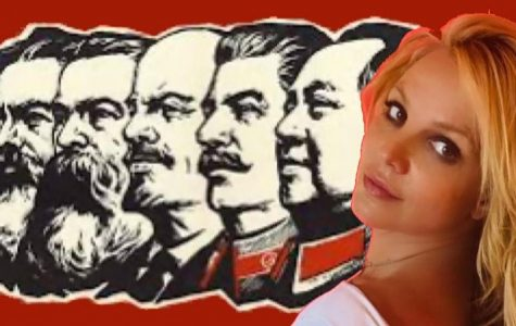 Britney Spears is shown edited into a graphic with socialists (from left) Karl Marx, Friedrich Engels, Vladimir Lenin, Joseph Stalin and Mao Zedong.