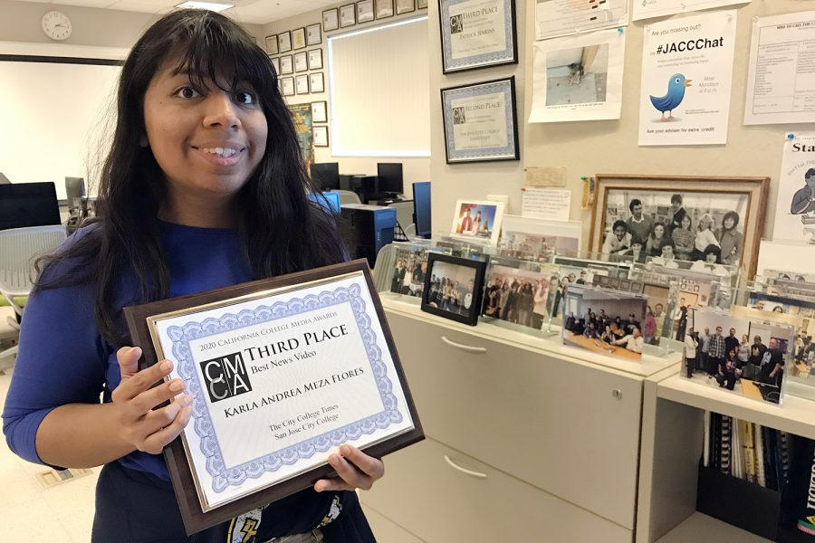 Karla Andrea Meza Flores celebrates her CCMA award win at the City College Times newsroom on March 3, 2020. The Times picked up five gongs at the Feb. 29  CCMA 2020 Excellence in Student Media competition.