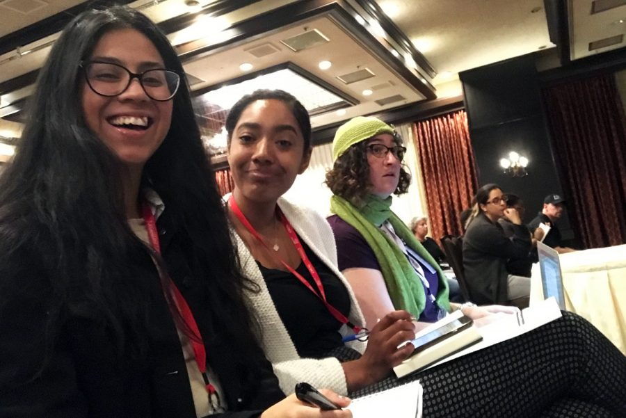 From left, City College staff members Joeanna Lopez, Daijunay Turner and Krissy Tobey listen to   keynote speaker Kevin Fagan, a reporter at the San Francisco Chronicle, at the JACC spring 2019 state convention. The event was held March 28 to March 30  in Sacramento, California.