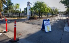 A Campus closed sign blocks the entrance to SJCC during the shelter-in-place order. SJCC plans to remain closed through Dec. 17.