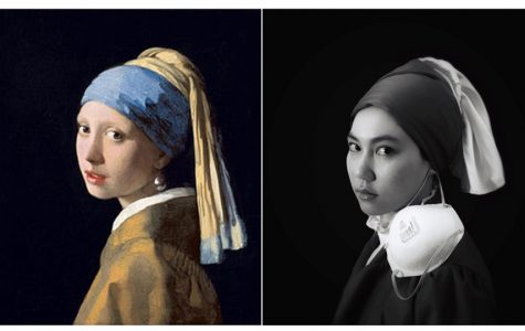 SJCC photography student Chenchen Jiang recreates Johannes Vermeer's Girl with a Pearl Earring using her cell phone camera. The SJCC photography class restaged classic works of art while sheltering-at-home.