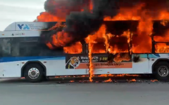 The Route 61 VTA bus is engulfed by flames near SJCC on May 7.