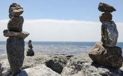 Zen balance rocks line the cliffs near Westcliff Drive in Santa Cruz, California..