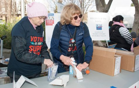 Left, Ann Fynn, member of the League of Women Voters of Diablo Valley and Suzan Requa, President of the league, at the Contra Costa Women's March 2020 in Walnut Creek Civic Park.  Picture courtesy of League of Women Voters of Diablo Valley