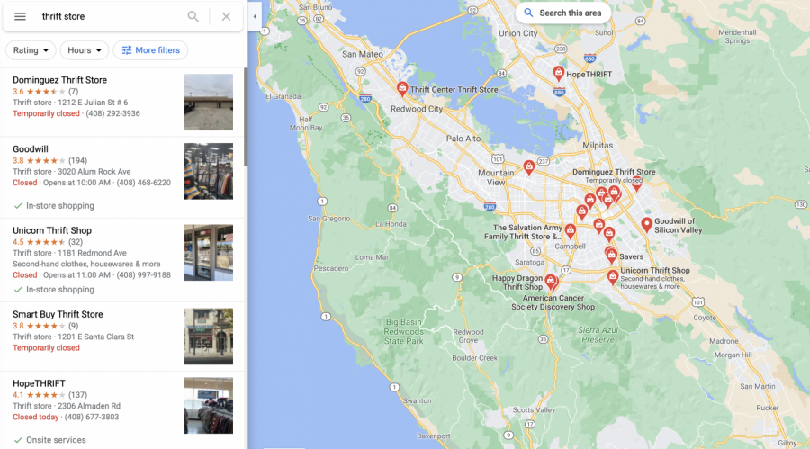 Screenshot of many thrift stores in San Jose