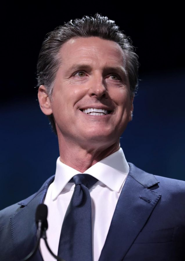 The photo shows Gov. Gavin Newsom, who is being challenged in a recall election on Sept. 14.