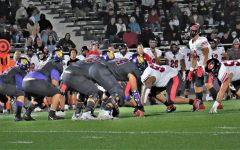 Saturday night game, Sept. 25, SJCCs Defensive Linemen line up at the line of scrimmage against Foothills Offensive Line.