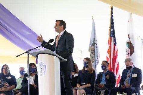 San Jose Mayor Sam Liccardo speaks to the crowd at the centennial celebration at San Jose City College on Sept. 13