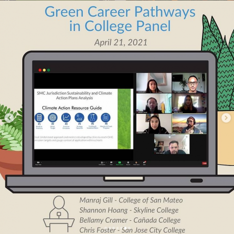 San Jose City College student Chris Foster, an intern, speaks as a panelist for a Green Careers Webinar series for high school students.