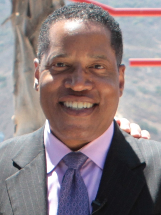The photo shows Rep. Larry Elder, who is a front runner in the race to replace Gov. Gavin Newsom in the California recall election.